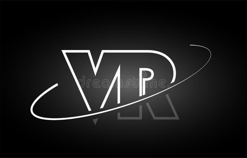 VR V r-ontwerp van het het embleem het zwarte witte pictogram van het brievenalfabet stock illustratie