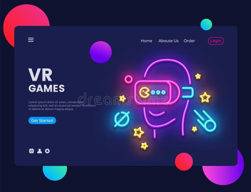 VR van de het conceptenbanner van de spelenwebsite Vector het ontwerpmalplaatje Gamer lichte banner in neonstijl, Virtuele Werkel vector illustratie