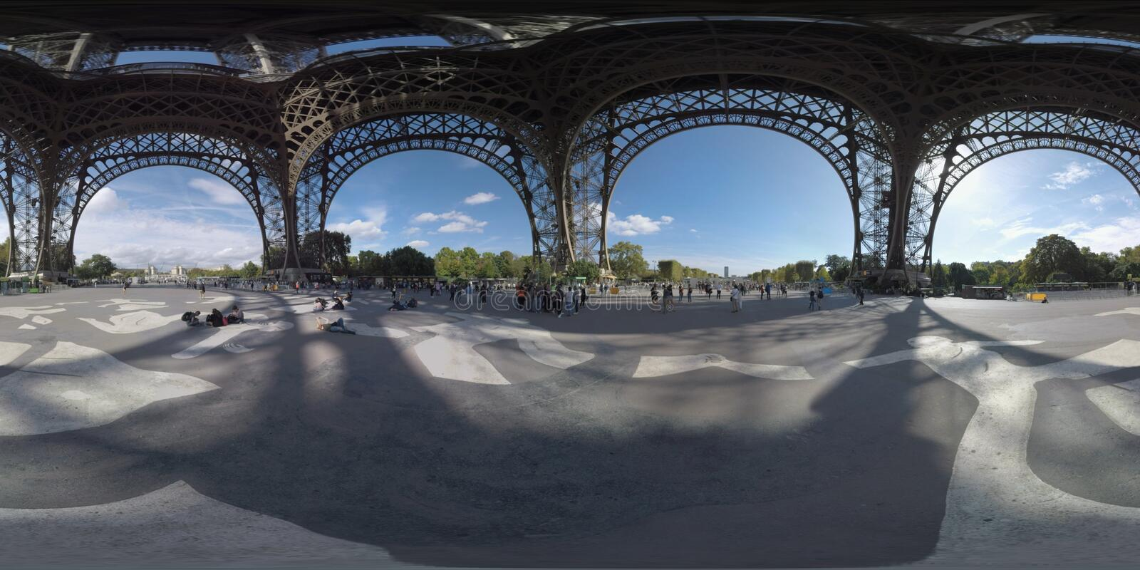 360 VR View from underneath the Eiffel Tower in Paris, France royalty free stock photography