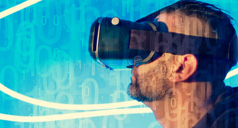 VR virtual reality cyberspace device. Man using VR virtual reality headset royalty free stock photos