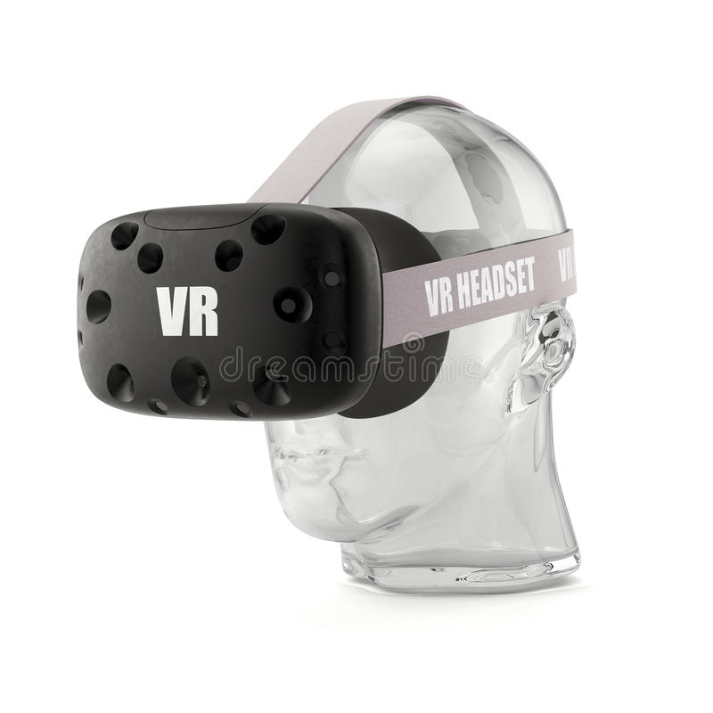 VR virtual reality headset on the glass head stock illustration