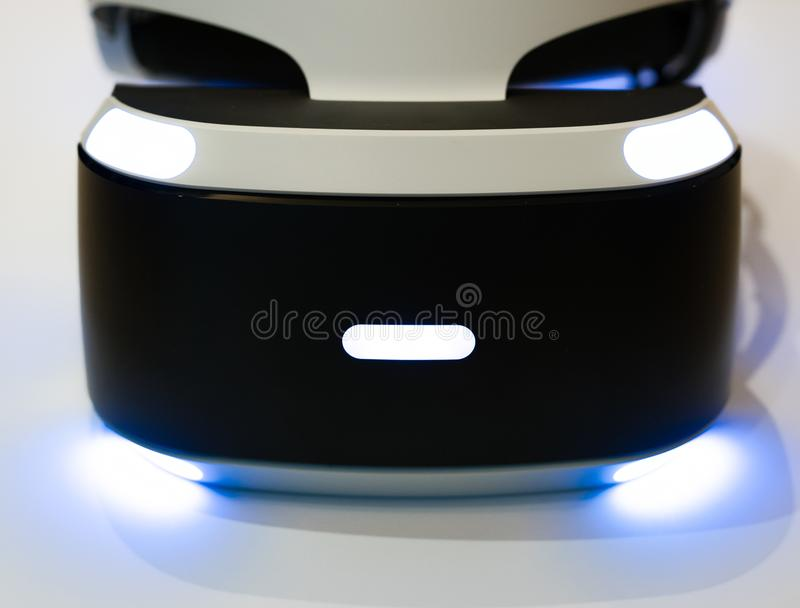 VR virtual reality headset switched on. Generic VR virtual reality headset switched on closeup on white background stock photography
