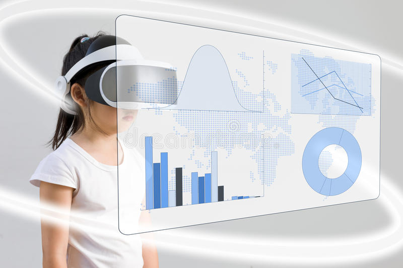VR or Virtual Reality for Math Education Concept Illustrated by royalty free stock photo