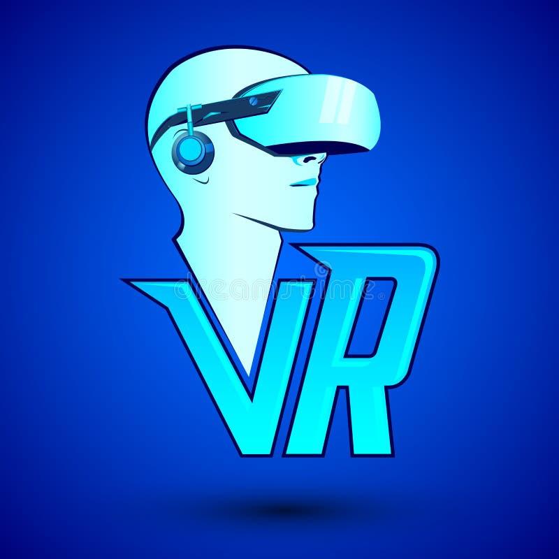 VR virtueel werkelijkheidspictogram met de mens die hoofdtelefoon dragen royalty-vrije illustratie
