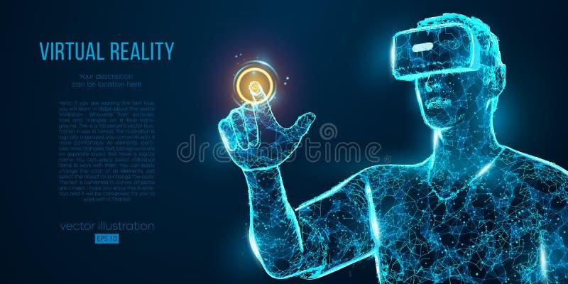 VR virtuele de werkelijkheidsglazen van de hoofdtelefoon holografische projectie, helm De lage poly geometrische vectorillustrati royalty-vrije illustratie