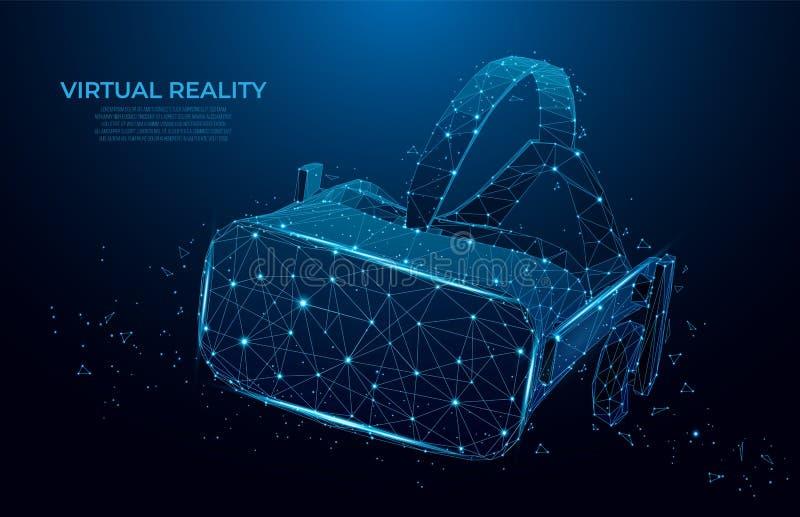 VR virtuele de werkelijkheidsglazen van de hoofdtelefoon holografische projectie, helm lage polywireframe geometrische vectorillu royalty-vrije illustratie