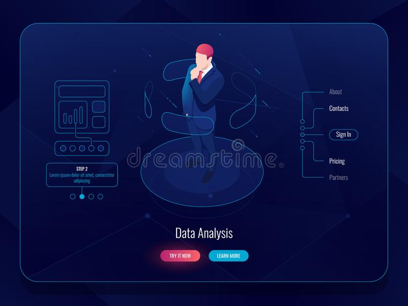 VR virtuele isometrische werkelijkheid, mensenverblijf op platform en het kiezen van opties, het concept van de gegevensanalyse,  royalty-vrije illustratie