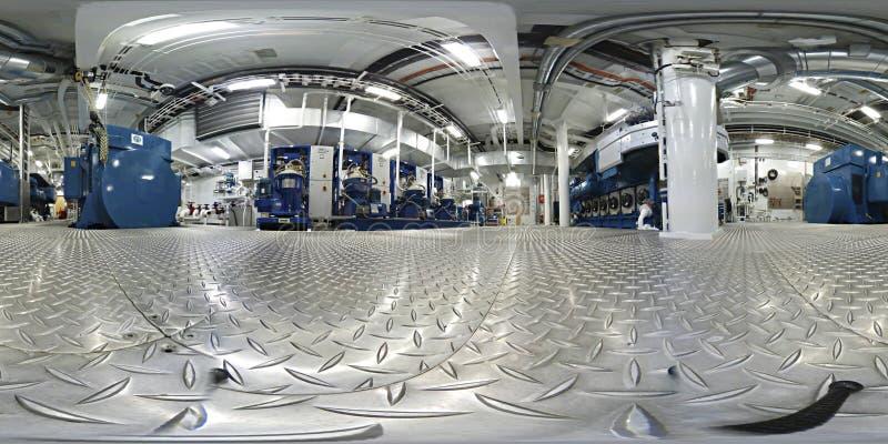 360 VR Virtuele Werkelijkheid binnen van een de ruimtenaboa van motormachines stock afbeeldingen