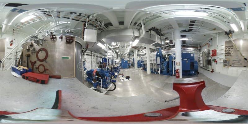 360 VR Virtuele Werkelijkheidsfoto binnen een moderne ruimte van de schipmotor stock fotografie