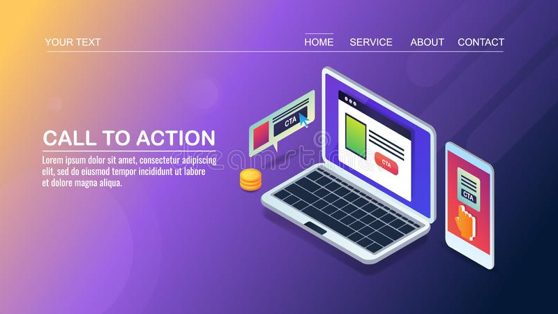 Vraag aan actie, de optimalisering van de websiteomzetting, CTA-knoop betreffende mobiel, isometrisch ontwerpconcept vector illustratie