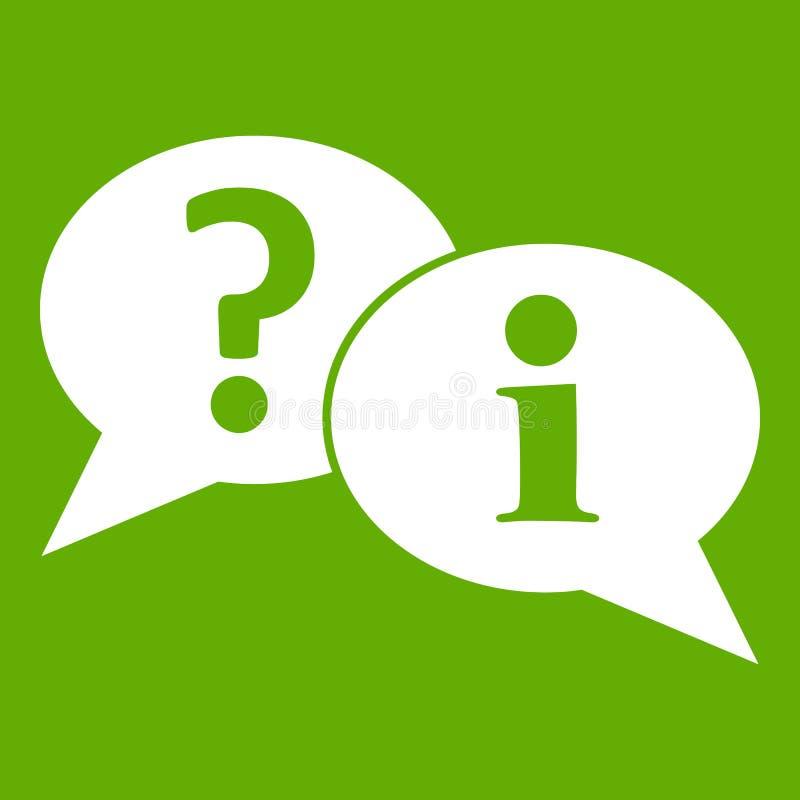 Vraag en uitroep groene het pictogram van toespraakbellen royalty-vrije illustratie