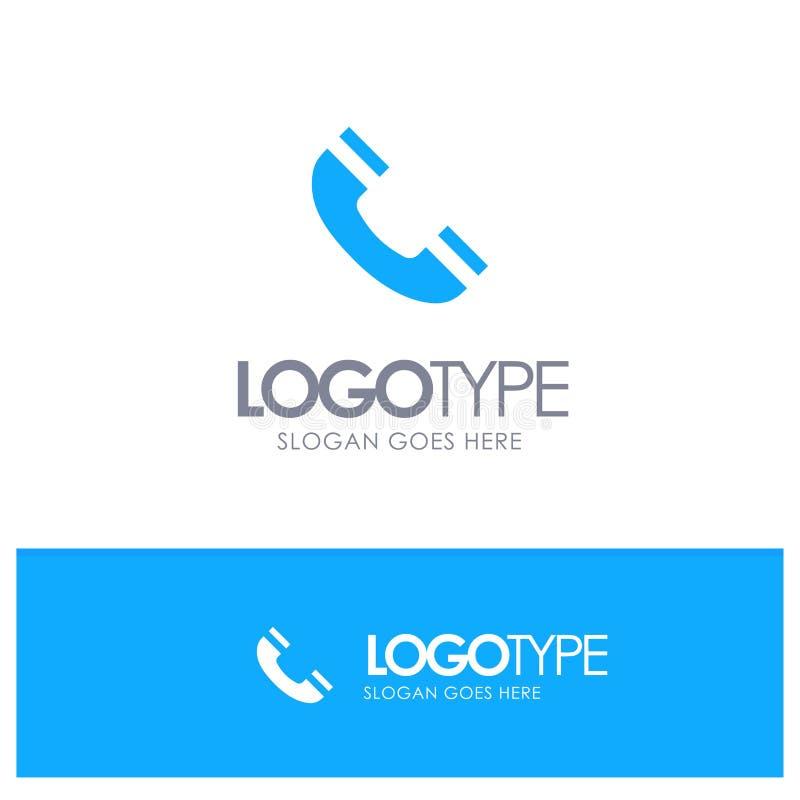 Vraag, Interface, Telefoon, het Blauwe Stevige Embleem van Ui met plaats voor tagline vector illustratie