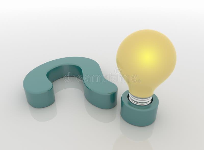 Vraag Mark Lamp en Gloeilamp, Vraag en antwoordconcept stock illustratie