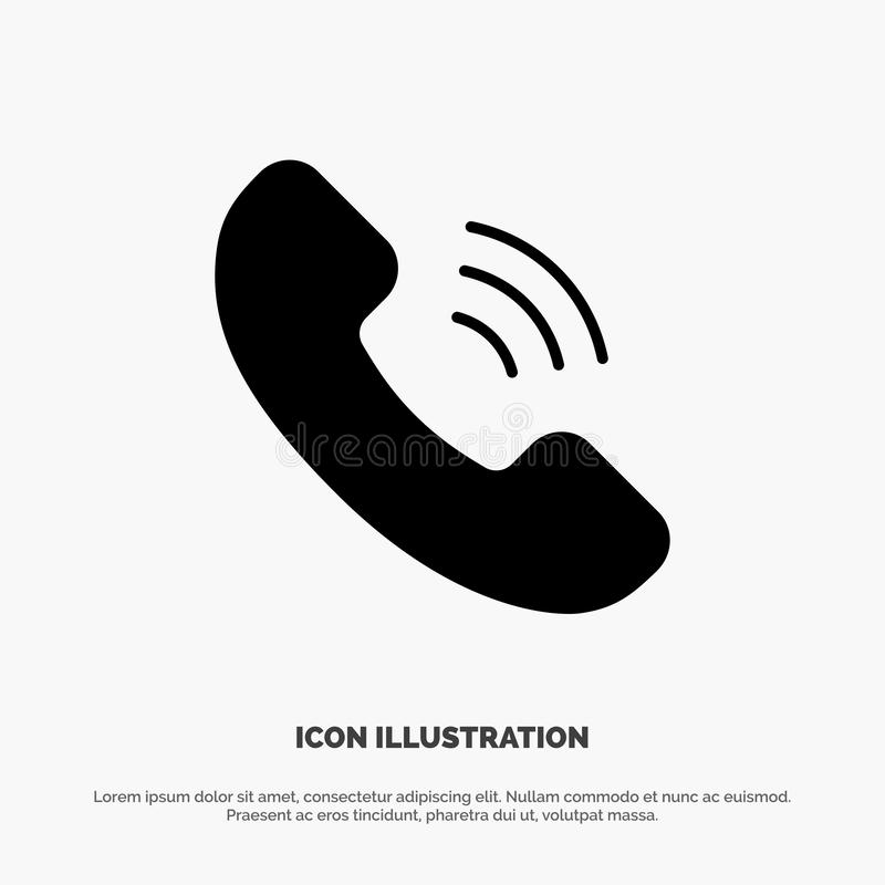 Vraag, Mededeling, het Pictogramvector van Telefoon stevige Glyph royalty-vrije illustratie