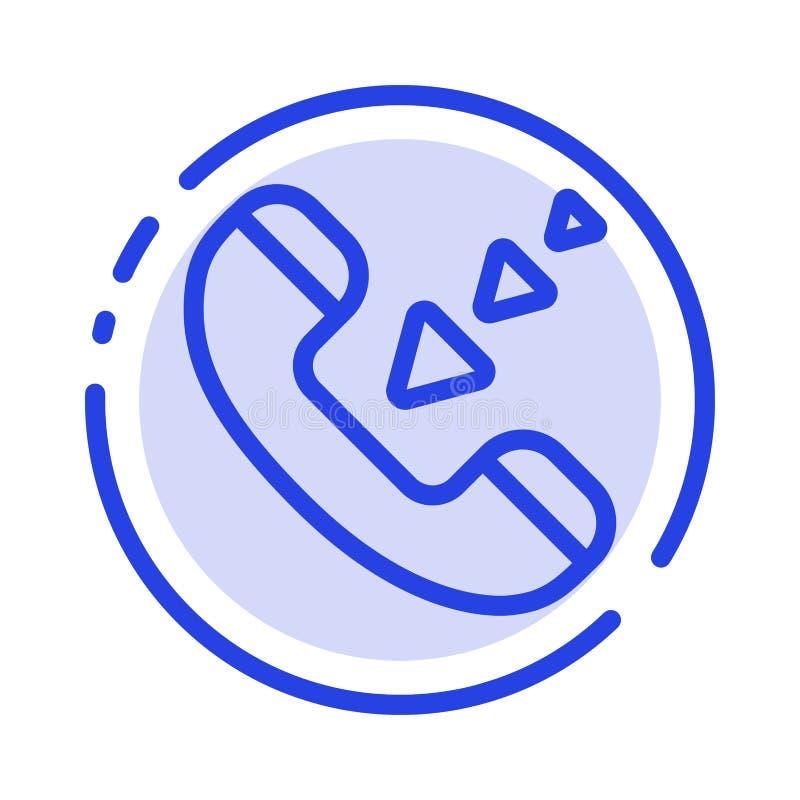 Vraag, Mededeling, Inkomend, de Lijnpictogram van de Telefoon Blauw Gestippelde Lijn stock illustratie
