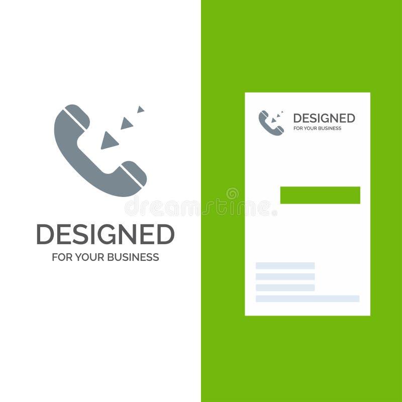 Vraag, Mededeling, Inkomend, Telefoon Grey Logo Design en Visitekaartjemalplaatje vector illustratie