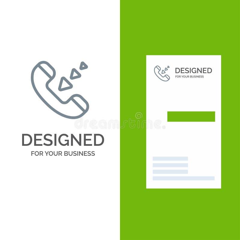 Vraag, Mededeling, Inkomend, Telefoon Grey Logo Design en Visitekaartjemalplaatje stock illustratie