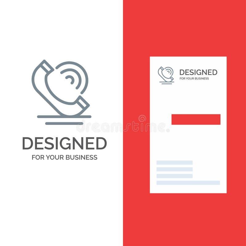 Vraag, Mededeling, Telefoon, de Diensten Grey Logo Design en Visitekaartjemalplaatje vector illustratie