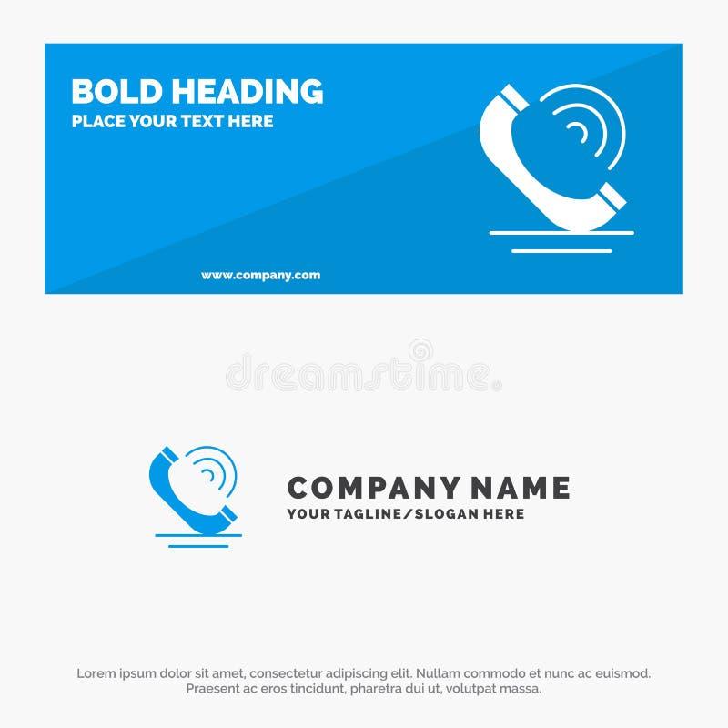 Vraag, Mededeling, Telefoon, de Websitebanner en Zaken Logo Template van het de Diensten Stevige Pictogram stock illustratie