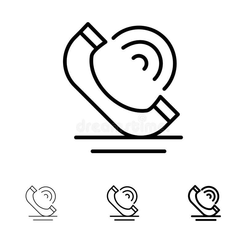 Vraag, Mededeling, Telefoon, het pictogramreeks van de de Diensten Gewaagde en dunne zwarte lijn royalty-vrije illustratie