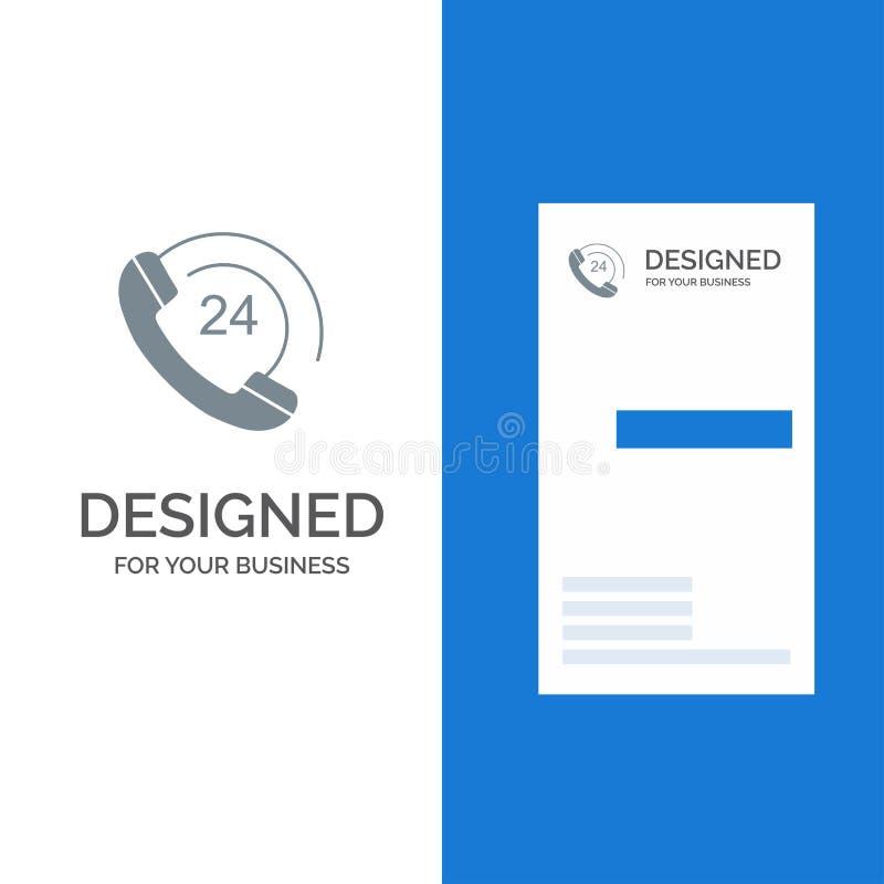 Vraag, Mededeling, Telefoon, Steun Grey Logo Design en Visitekaartjemalplaatje stock illustratie
