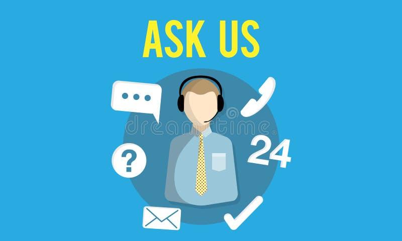Vraag ons kopen online raadplegen contacteren ons Klantenondersteuningsconcept stock illustratie