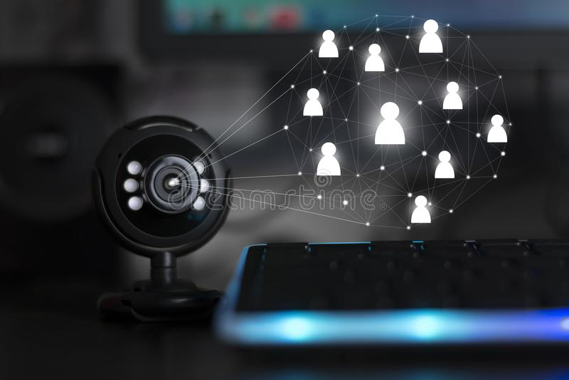 Vraag van de de camera de webinar conferentie van het Usbweb stock afbeelding