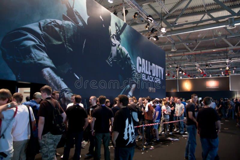 Vraag van Plicht: Zwarte Ops in GamesCom stock foto