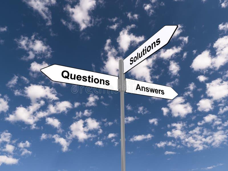Vraagantwoorden en oplossingen stock illustratie