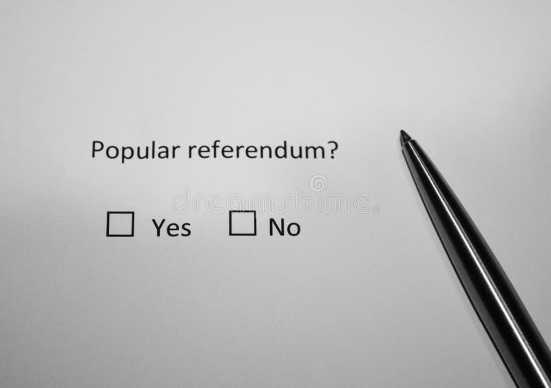 Vraagonderzoek Populair referendum? Ja of nr Direct democratieconcept royalty-vrije stock foto's