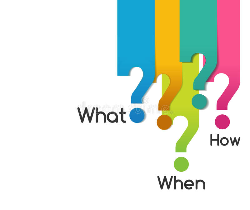 Vraagsymbool van wat wanneer waar waarom wie hoe, analysediagram vector illustratie