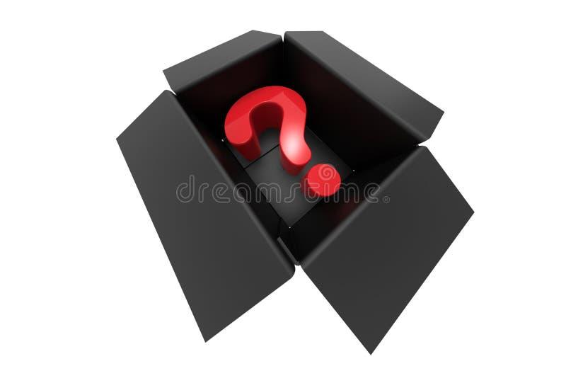 Vraagteken binnen een doosconcept royalty-vrije illustratie