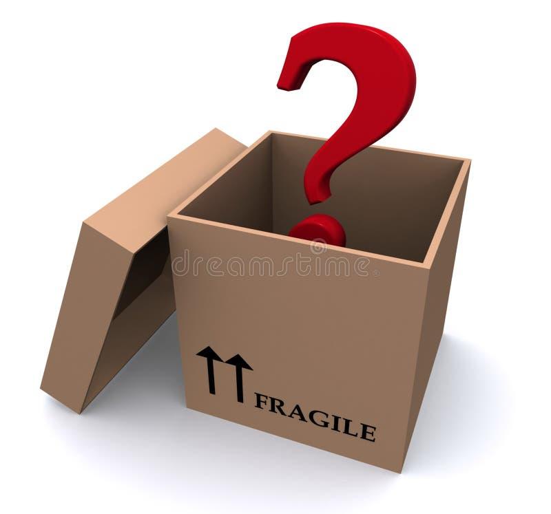 Vraagteken in doos stock illustratie