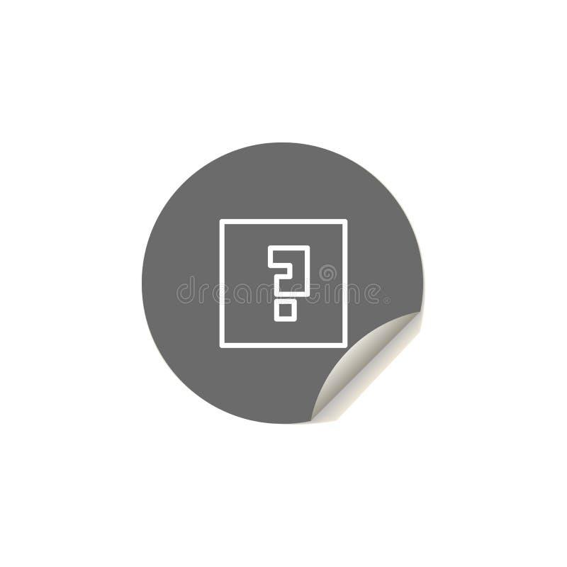 vraagteken in een vierkant pictogram Element van Webpictogrammen voor mobiel concept en Web apps Het vraagteken van de stickersti royalty-vrije illustratie
