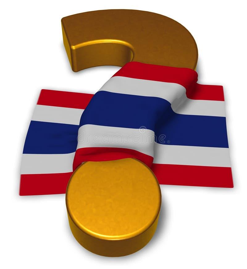 Vraagteken en vlag van Thailand stock illustratie