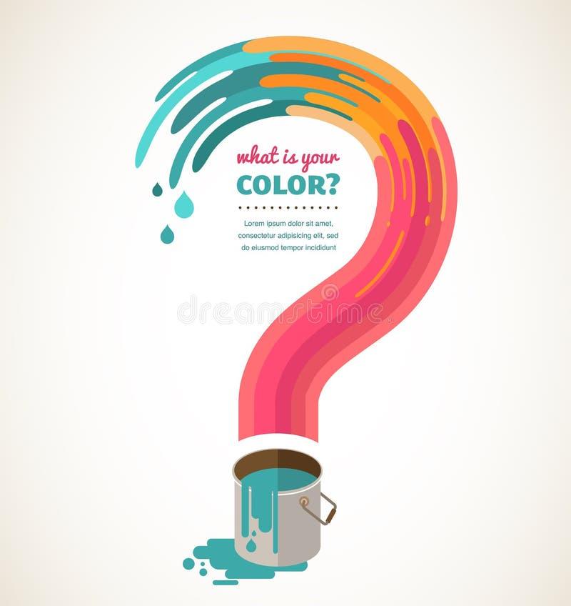 Vraagteken - kleurenplons, creatief concept royalty-vrije illustratie