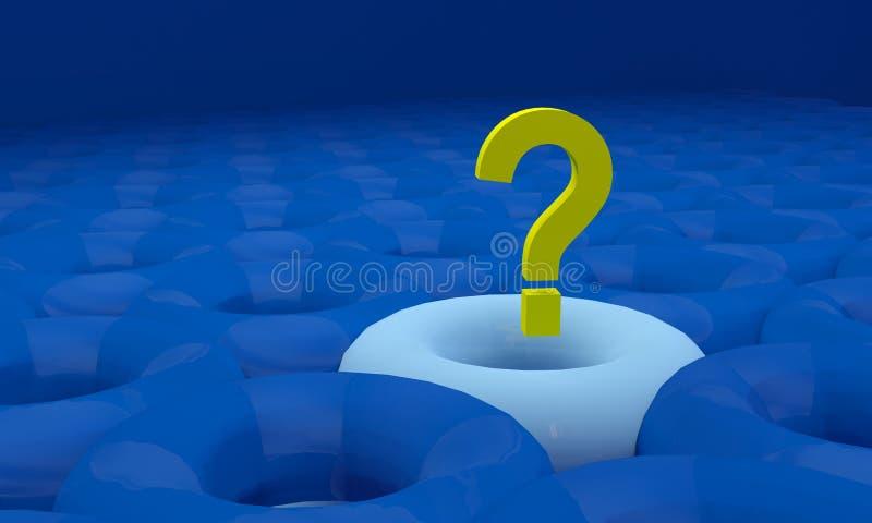 Vraagteken op blauwe achtergrond met schaduw en bezinning vector illustratie