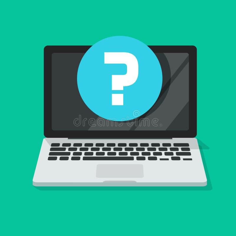 Vraagteken op het vectorpictogram van het computerscherm, vlakke beeldverhaallaptop PC met vraagsymbool, idee van Internet-proble vector illustratie