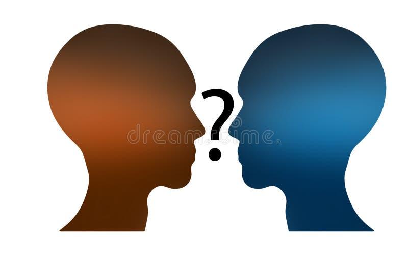 Vraagteken tussen twee hoofden stock foto