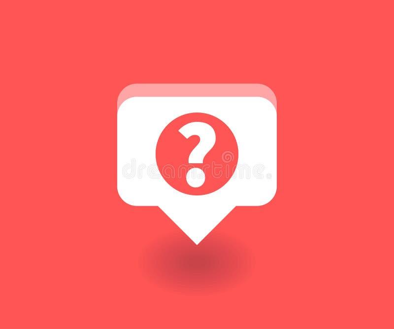 Vraagtekenpictogram, vectorsymbool in vlakke die stijl op rode achtergrond wordt geïsoleerd Sociale media illustratie stock illustratie