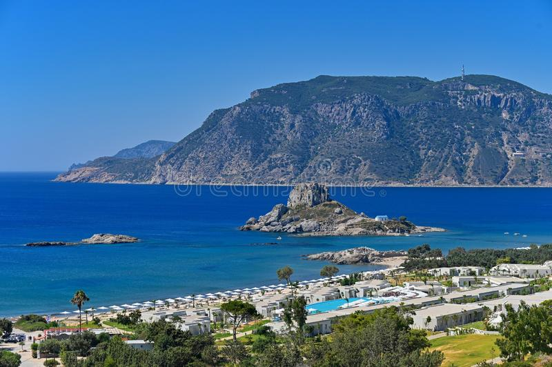 Vrachonisida Kastri - Greece island Kos. Beautiful concept for summer vacation and holiday. Beautiful landscape with sea, island a. Nd traditional small greek royalty free stock image