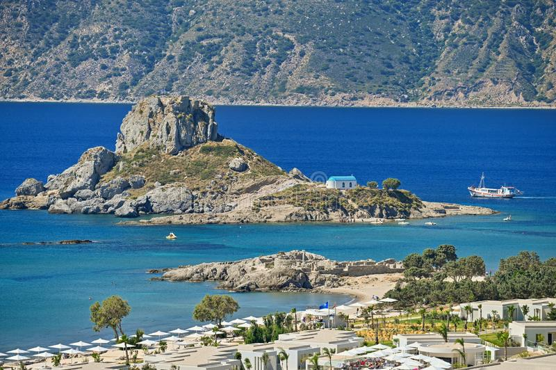 Vrachonisida Kastri - Greece island Kos. Beautiful concept for summer vacation and holiday. Beautiful landscape with sea, island a. Nd traditional small greek royalty free stock photos