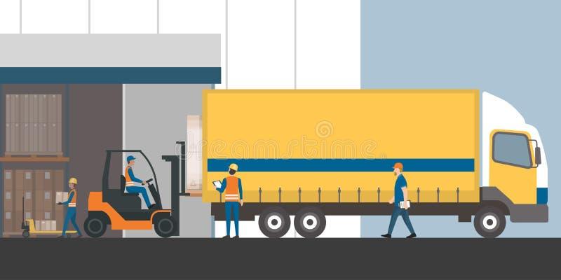 Vracht verzending en pakhuis royalty-vrije illustratie