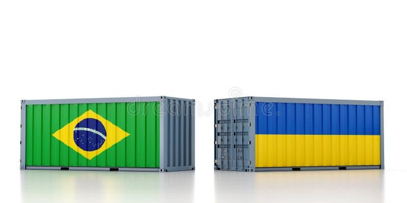 Vrachtcontainer met nationale vlag Brazilië en Oekraïne stock illustratie
