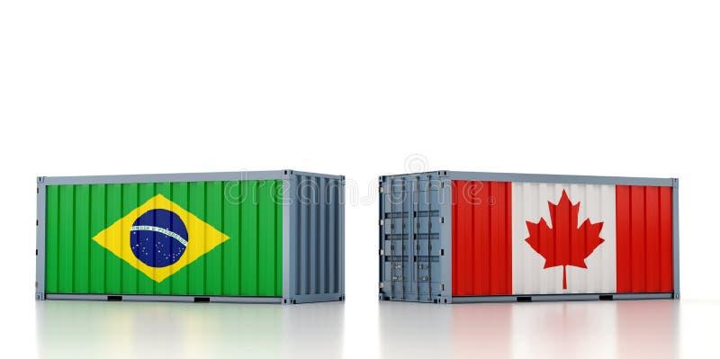 Vrachtcontainer met nationale vlag van Brazilië en Canada royalty-vrije illustratie