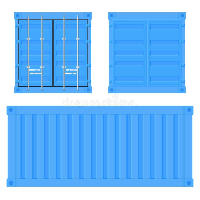 Vrachtcontainer voor verzending Blauwe intermodale container Instellen royalty-vrije illustratie