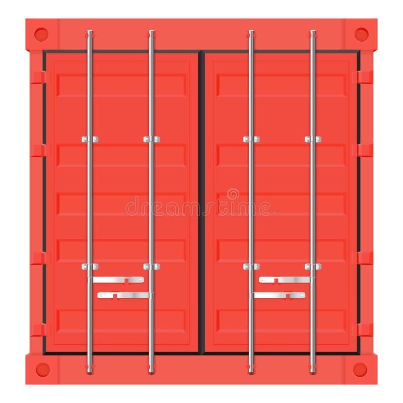 Vrachtcontainer voor verzending Rode intermodale container Vooraanzicht stock illustratie