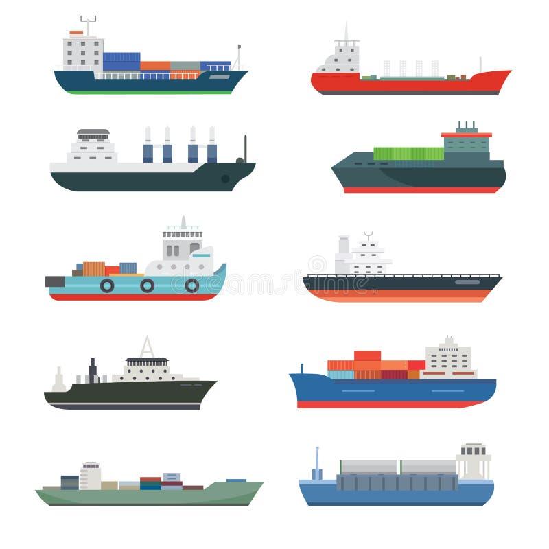 Vrachtschepen en de tankers die van de de treinvracht van de leverings bulk-carrier de boottankers de verschepen isoleerden vecto vector illustratie