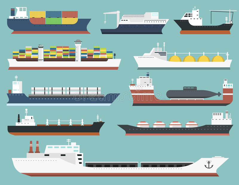 Vrachtschepen en tankers die die van de de treinvracht van de leverings bulk-carrier de boottankers verschepen op achtergrondvect stock illustratie