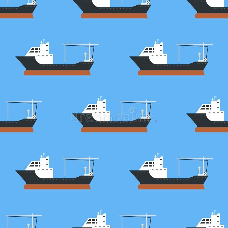 Vrachtschepen en tankers die van de de dragertrein van het leverings bulk naadloze patroon van de de vrachtboot de tankersvector  vector illustratie